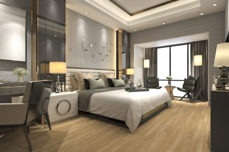 Luxury bedroom with gray motif