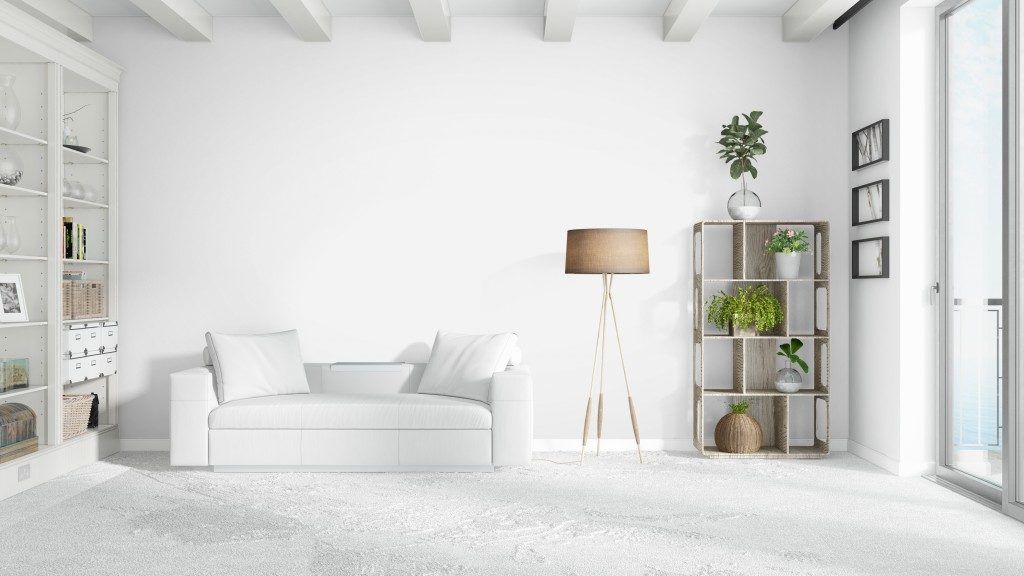 white couch in a white living room