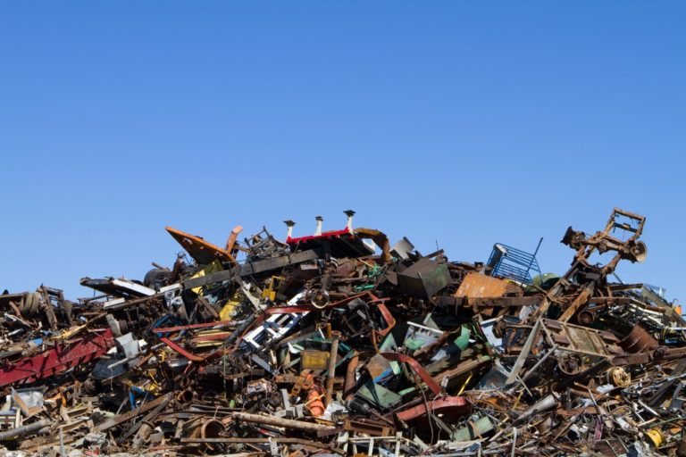 Metal waste in recycling yard