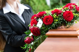 Mourning woman on funeral