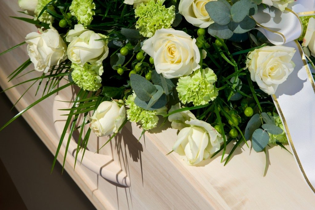 Flowers on a casket