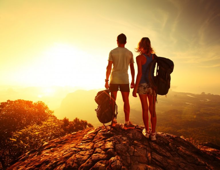 Couple out on a hike