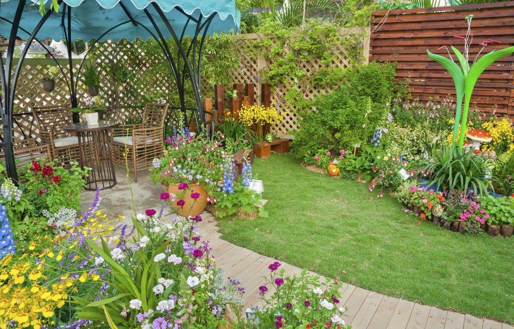 small patio in a garden