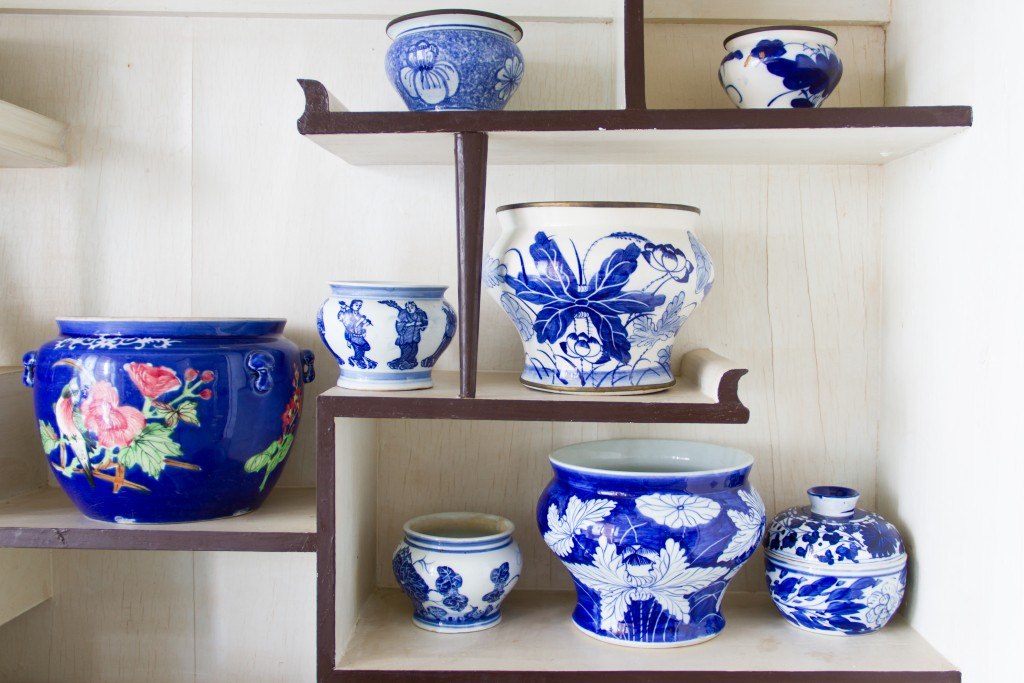 porcelain on the shelves