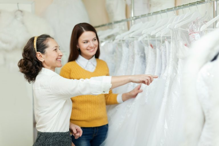 bride choosing her wedding dress