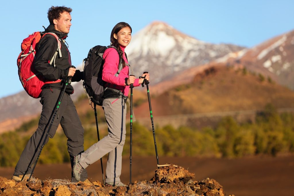 Man and woman hiking