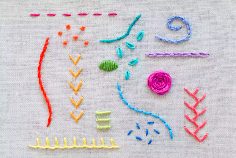 different samples of embroidery stitches