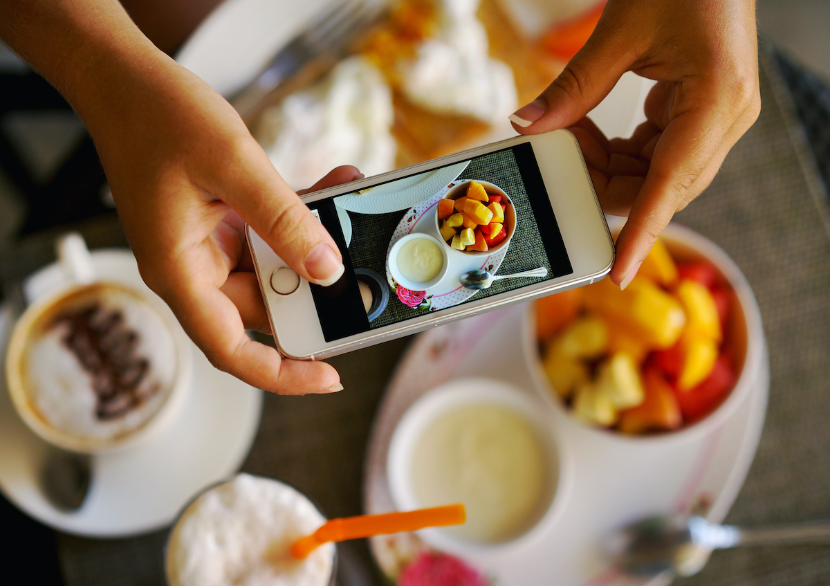 taking photo of food