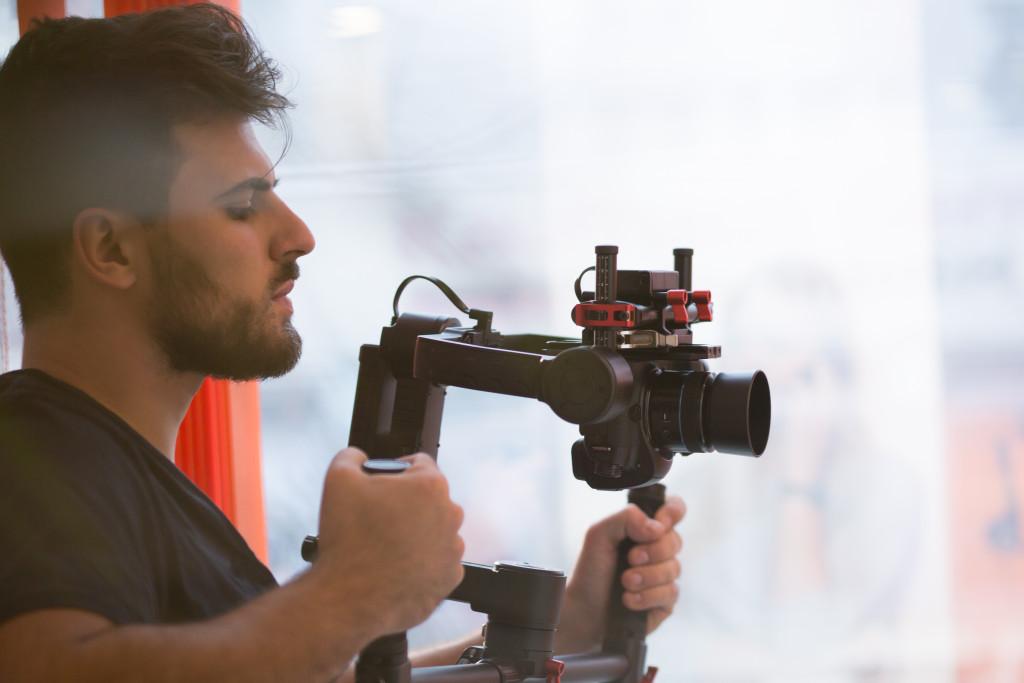 man doing a video shoot