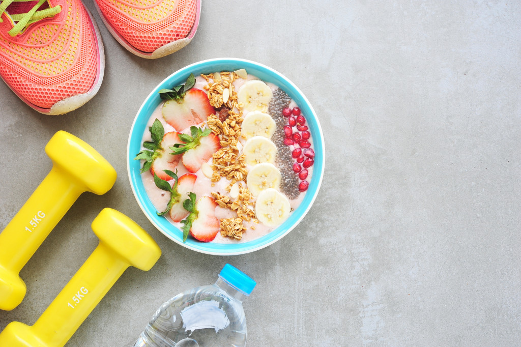 healthy bowl and exercise items