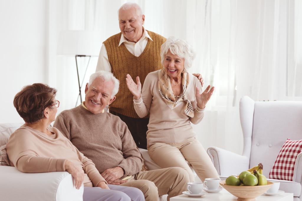 senior citizens talking