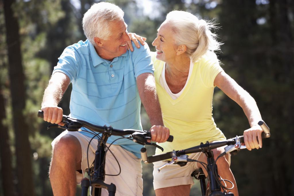 senior citizens biking